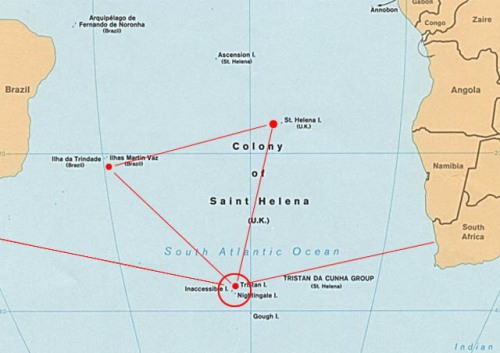 Map of Tristan da Cunha islands